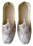 Mens White Hand Work Brocade Shoes