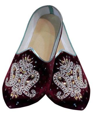 Mens Maroon Velvet Embroidered Hand Work Shoes