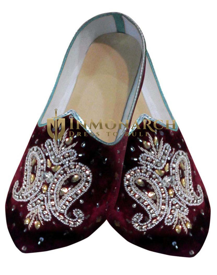 Mens Maroon Velvet Embroidered Hand Work Shoes
