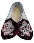 Mens Wedding Shoe For Groom Maroon Velvet Embroidered Hand Work Shoes