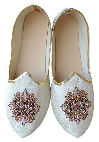 Mens Cream Indian Wedding Embroidered Shoes