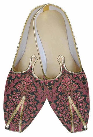 Mens Burgandy Brocade Indian Wedding Shoes