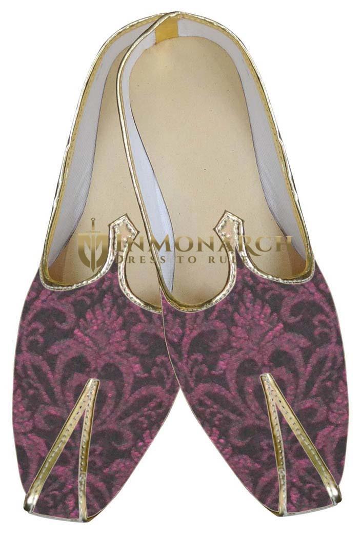 Mens Burgandy Ethnic Wedding Shoes