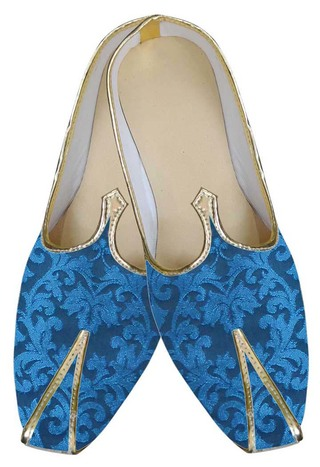 Mens Blue Indian Ethnic Wedding Shoes