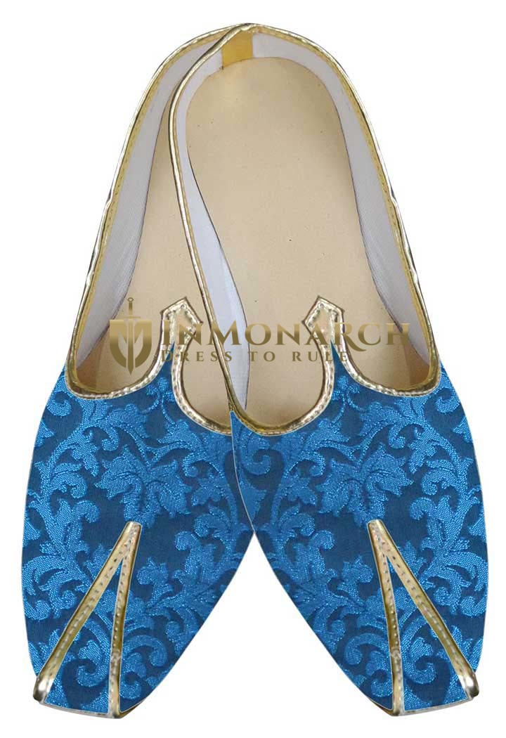 Mens Blue Indian Ethnic Wedding Shoes