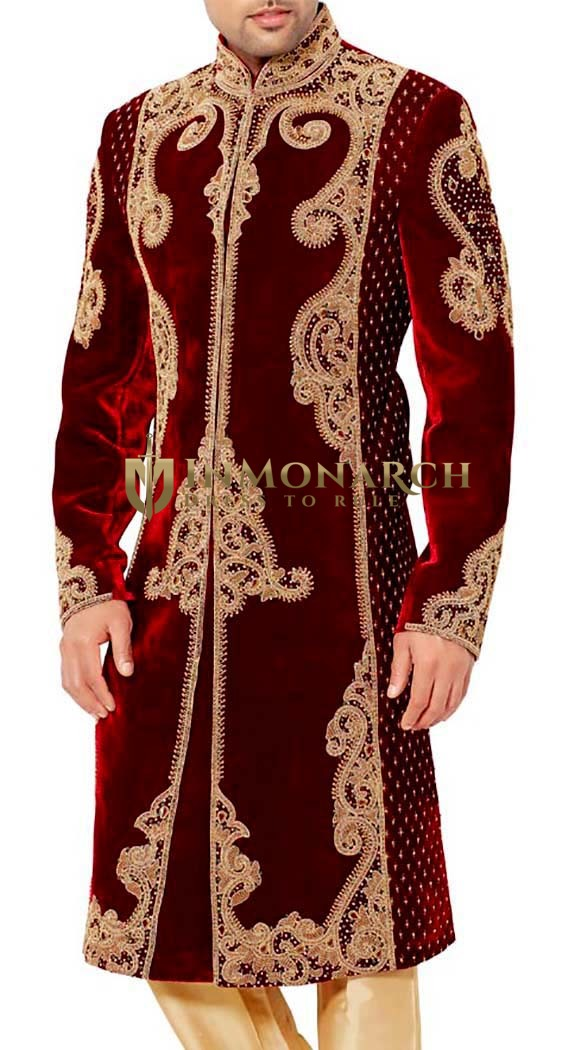 Mens Indian Suit Maroon Velvet Sherwani For Men Golden Embroidered Inmonarch