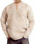 Mens Natural V Neck Short Kurta Embroidered work