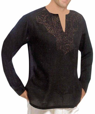 Mens Black Linen Short Kurta V Neck