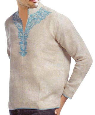 Mens Natural Linen Tunics Designer Embroidered
