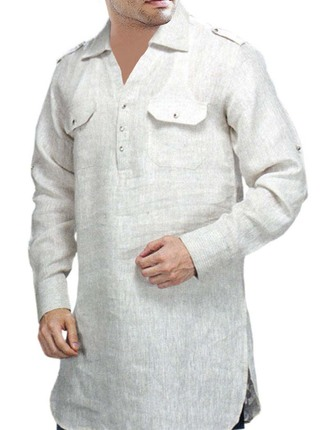 Mens White Linen Shirt Tunics Style
