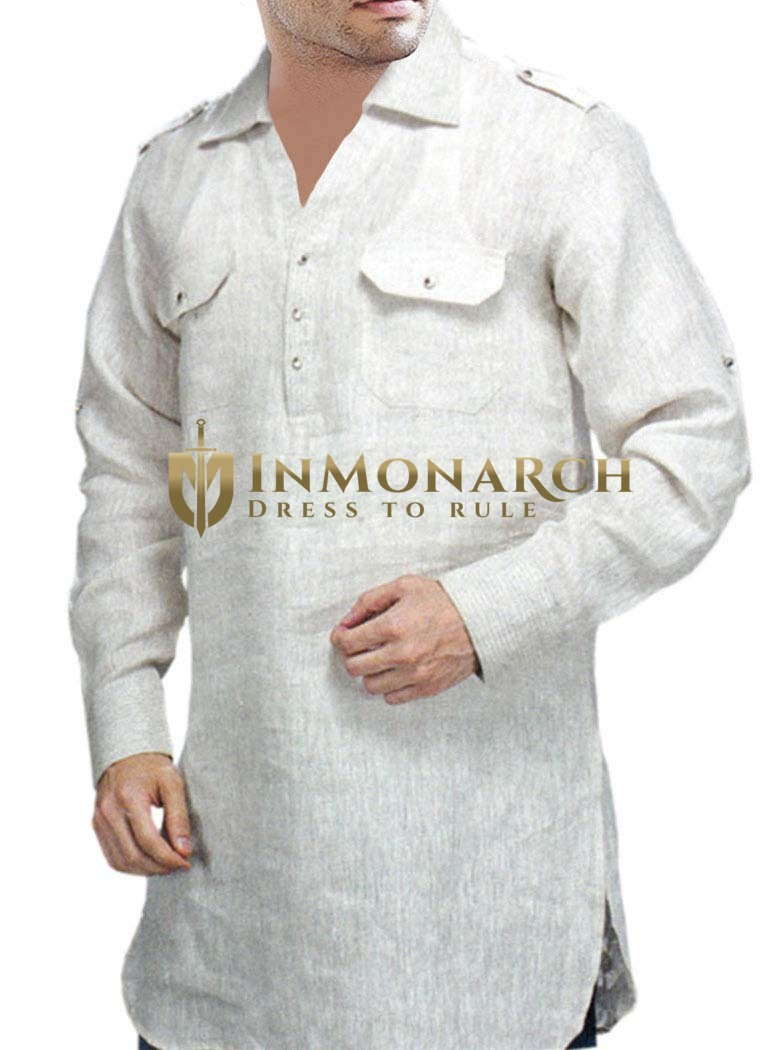 Mens White Linen Shirt Tunics Style Inmonarch
