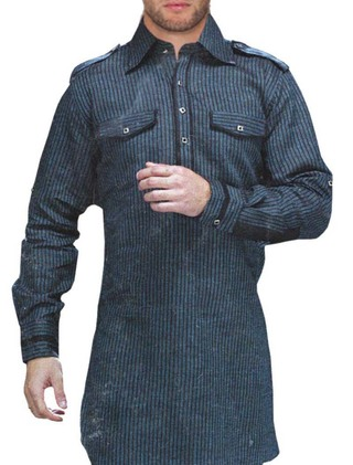 Mens Linen Blue Long Kurta