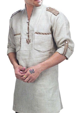 Mens Gray Kurtas High Neck Long