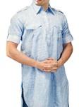 Mens Sky Blue Linen Kurta Tunics Style