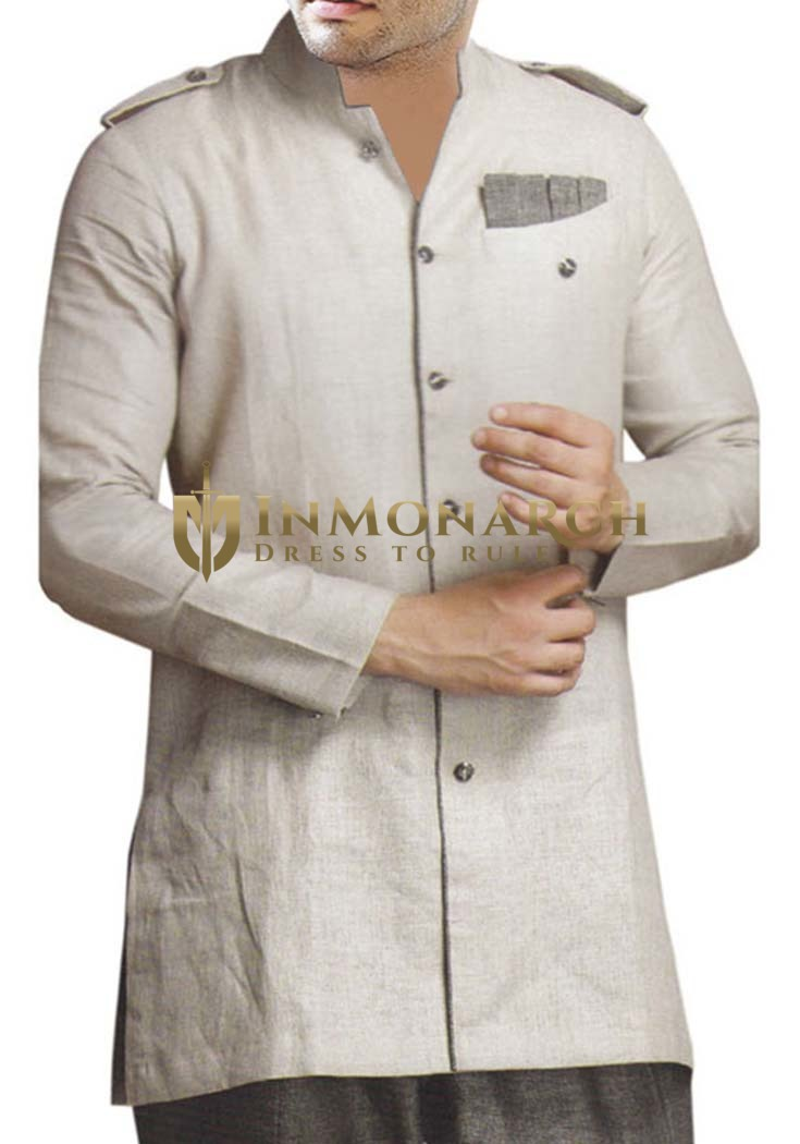 Mens Gainsboro Pathani Kurta Safari Style