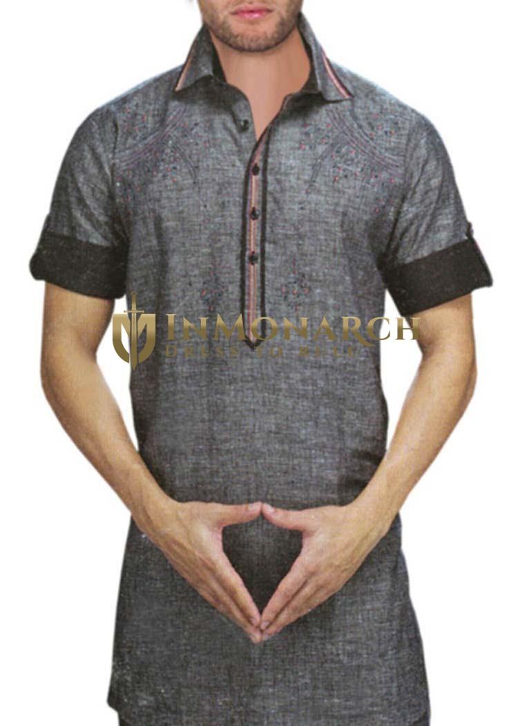 Mens Gray Linen Kurta Partywear