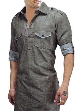 Mens Gray Linen Kurtas Royal Look