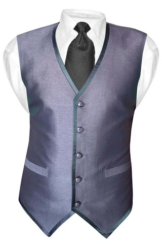 Mens Gray Polyester Tuxedo Vest Casual 5 Button