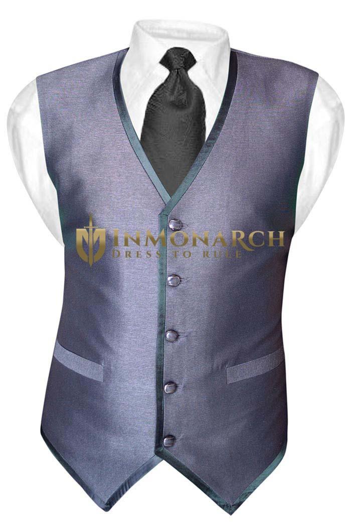 Mens Gray Polyester Tuxedo Vest Casual 5 Button