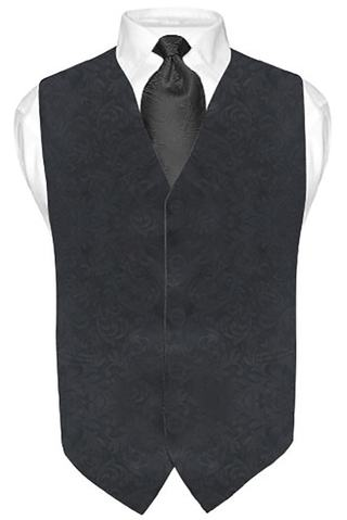 Mens Black V Vest Brocade 5 Button