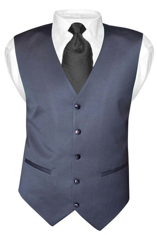 Mens Gray V Vest Double Breasted 5 Button