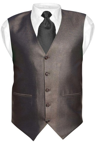 Mens Brown Polyester Tuxedo Vest V Style 5 Button
