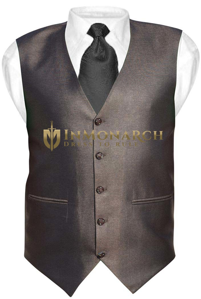 Mens Brown Polyester Tuxedo Vest V Style 5 Button Inmonarch