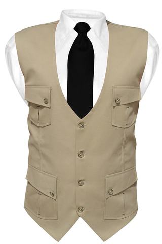 Mens Tan Cottan V Vest Safari 4 Pocket