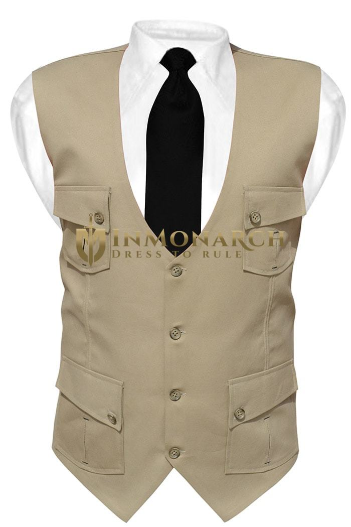 Mens Tan Cotton V Vest Safari 4 Pocket