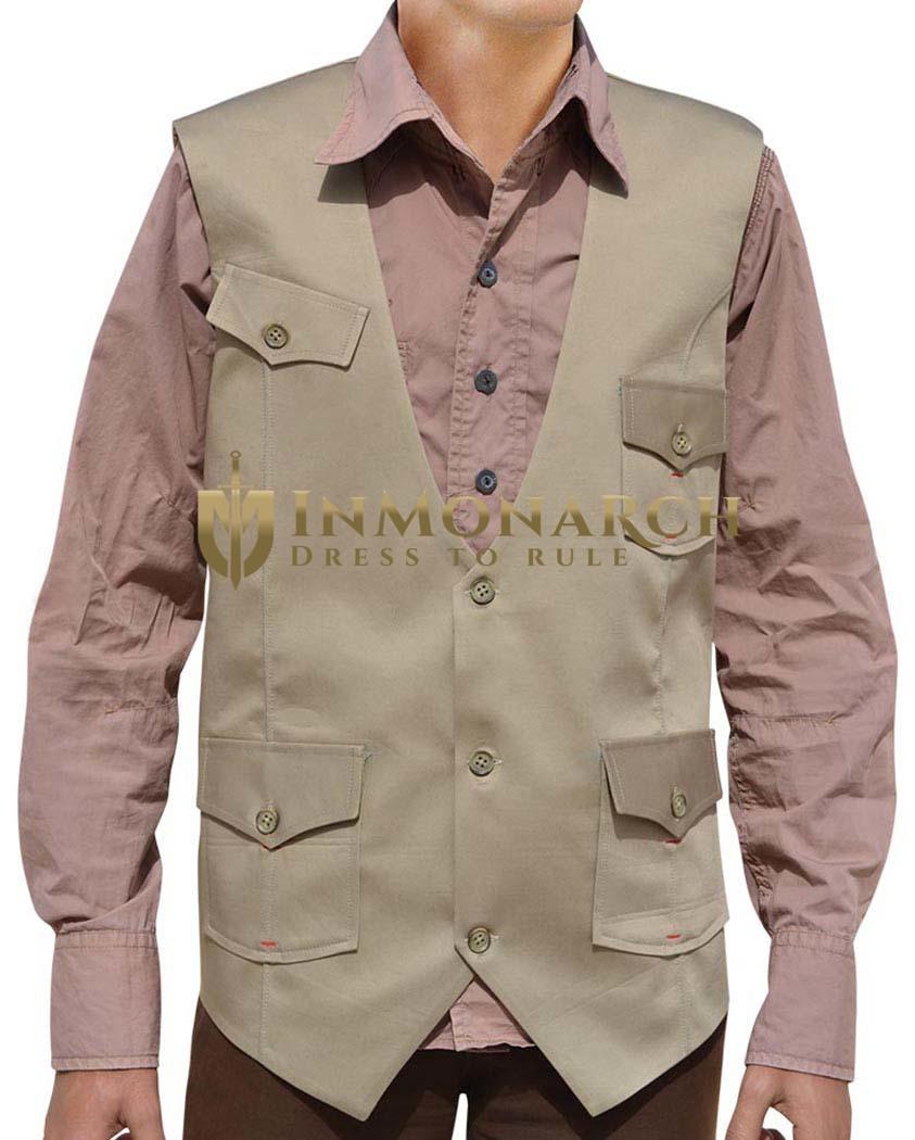 Mens Tan Cotton Vest Safari Sleeveless