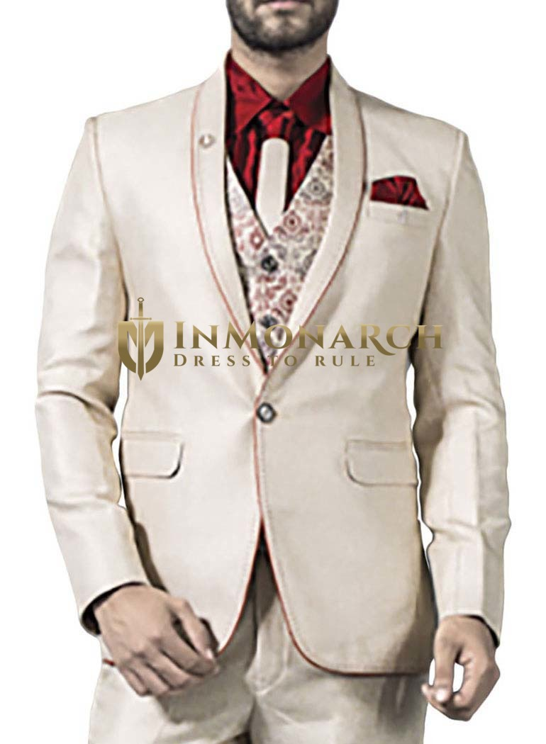 Mens Ivory 6 Pc Tuxedo Suit Classic One Button