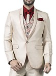Mens Beige 6 Pc Tuxedo Suit Classic One Button