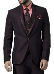 Mens Burgundy 6 Pc Tuxedo Suit Notched Lapel One Button