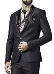 Mens Black 7 Pc Tuxedo Suit Grooms One Button