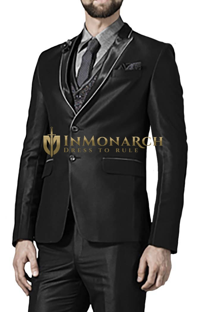 Mens Black 6 Pc Tuxedo Suit Prince Look Two Button