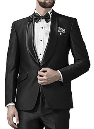 Mens Black 5 Pc Tuxedo Suit Formal Look One Button