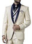 Mens Cream 7 Pc Tuxedo Suit Shawl Lapel One Button