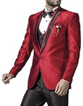 Mens Crimson Red 7 Pc Tuxedo Suit Handsome One Button
