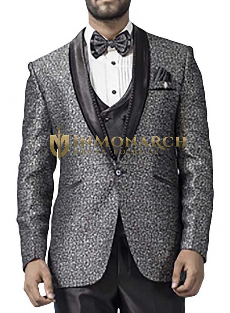 Mens Gray 7 Pc Tuxedo Suit One Button Self Design
