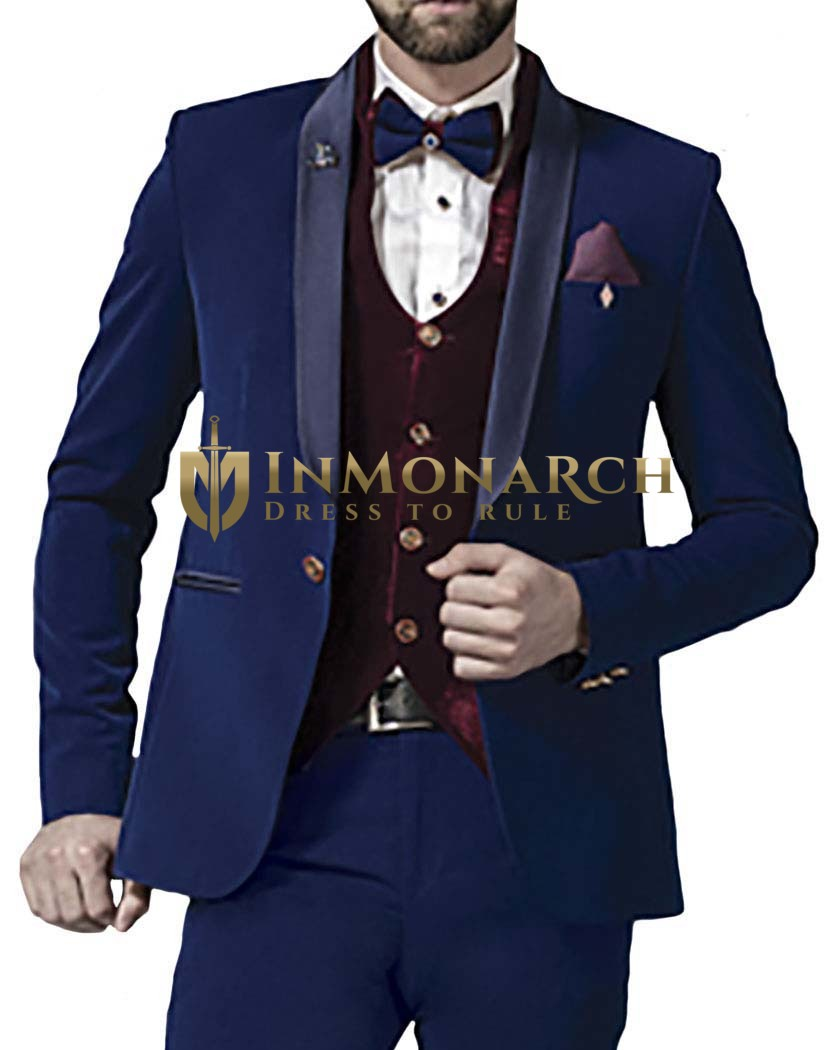 Mens Blue 8 Pc Tuxedo Suit Elegant One Button