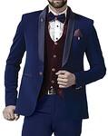 Mens Blue 8 Pc Tuxedo Suit One Button Shawl Lapel