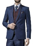 Mens Blue 7 Pc Tuxedo Suit One Button Shawl Collar