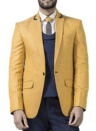 Mens Yellow 5 Pc Tuxedo Suit Prom Special One Button