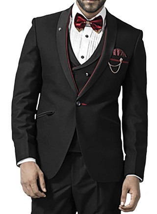 Mens Black 7 Pc Tuxedo Suit One Button Red Piping