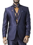 Mens Navy Blue 7 Pc Tuxedo Suit Classic Style One Button