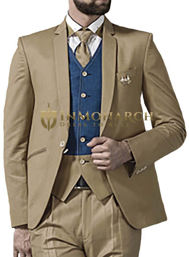 Mens Tan 6 Pc Tuxedo Suit One Button Notched Lapel