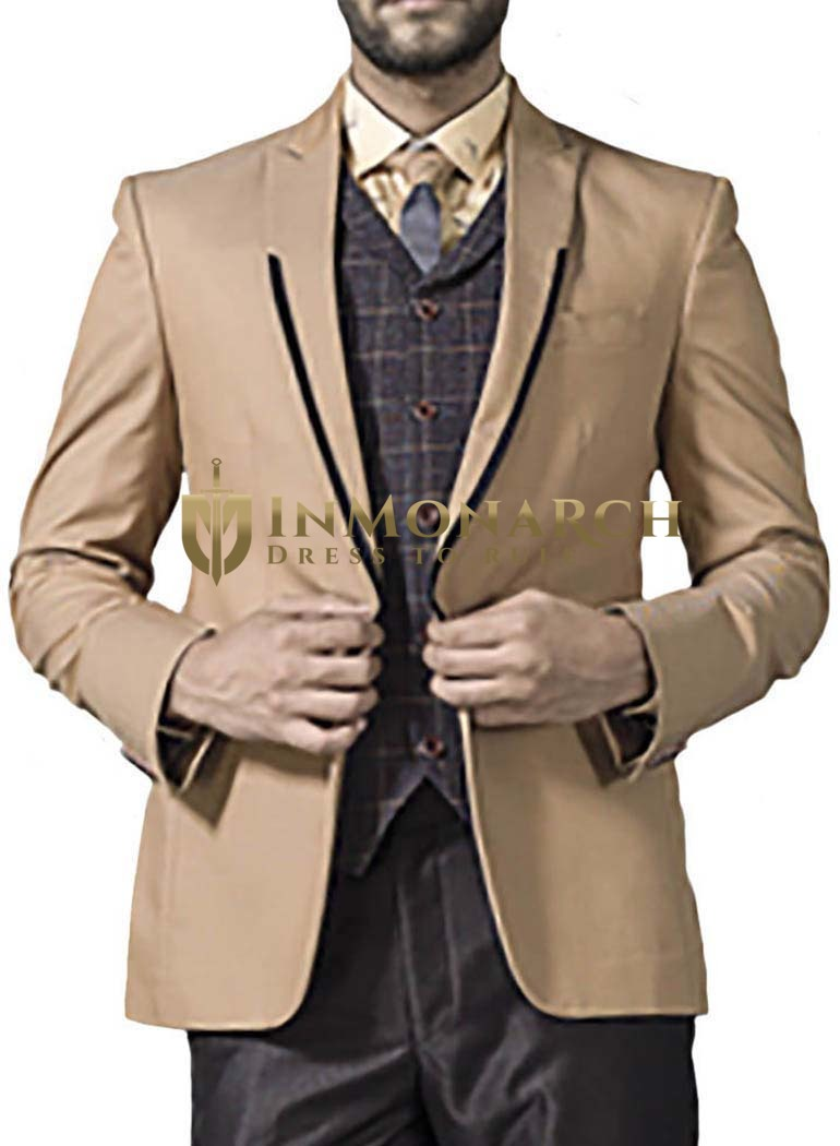 Mens Beige 5 Pc Tuxedo Suit One Button Trimmed