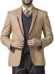 Mens Beige 5 Pc Tuxedo Suit Sophisticated One Button