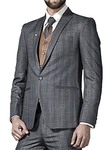 Mens Gray 5 Pc Tuxedo Suit Trim Fit One Button