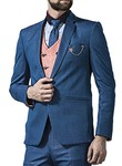 Mens Denim Blue 6 Pc Tuxedo Suit Notch Lapels One Button